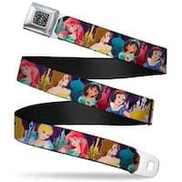 Princess Jewels Full Color Black Multi Color Disney Princess Poses Castle Seatbelt Belt