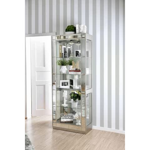 Furniture of America Calantha Contemporary Chrome 5-shelf Curio Cabinet