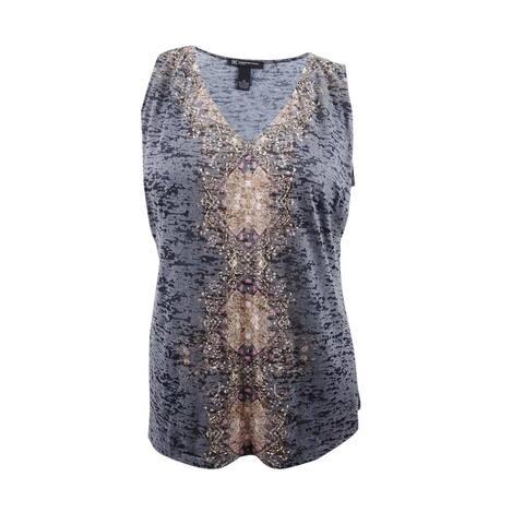INC International Concepts Women's Plus Size Embellished Printed Tank - Grey