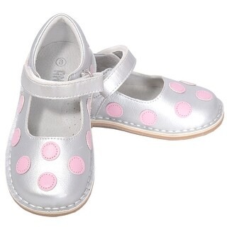 L'Amour Silver Pink Dot Mary Jane Dress Shoe Baby Toddler Girl 4-10