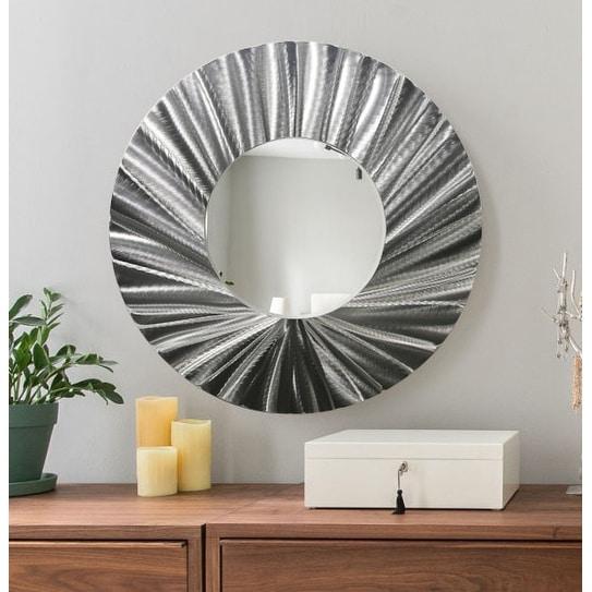 Statements2000 Silver Metal Wall Mirror Art Accent Decor by Jon Allen - Mirror 118