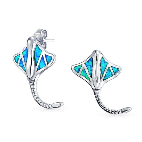 Blue Inlay Created Opal Stingray Stud Earrings Sterling Silver