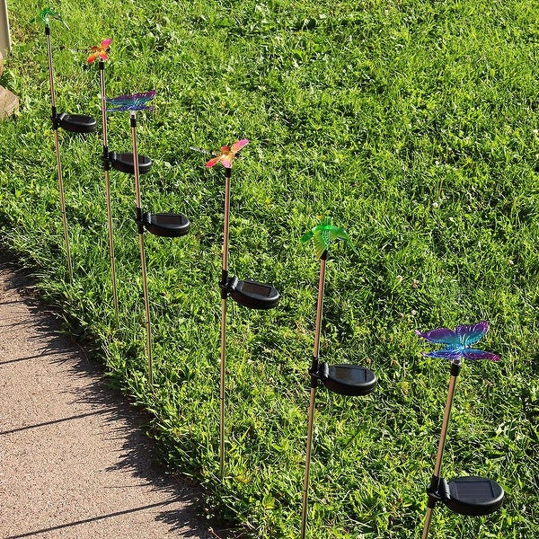 Sunnydaze Solar Butterfly Dragonfly and Hummingbird Stake LED Light - Set of 6