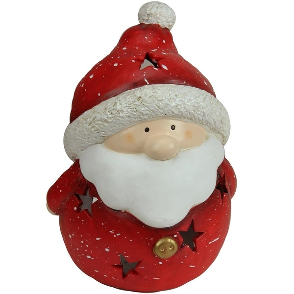 "9"" Christmas Morning Terracotta Santa Claus Decorative Christmas Tealight Candle Holder - RED"