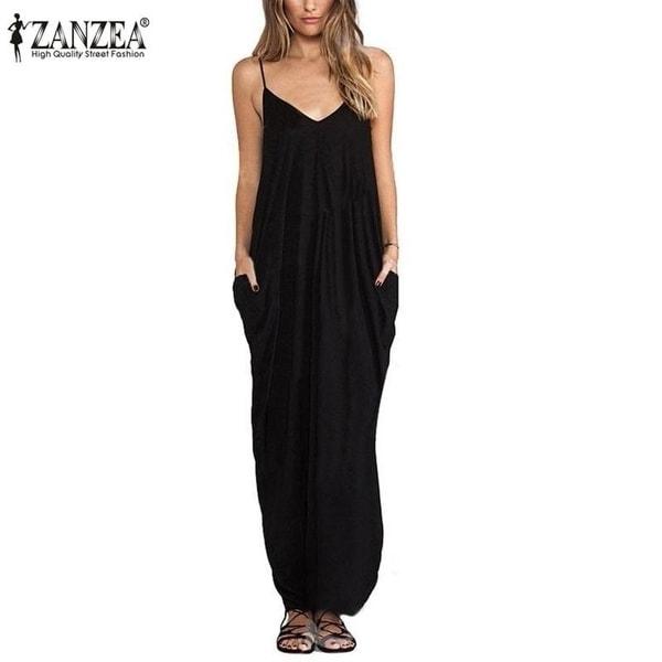 2f30bc936484 Zanzea 2017 Summer Women Boho Hot V Neck Sleeveless Beach Dresses Ladies  Casual Loose Long Maxi