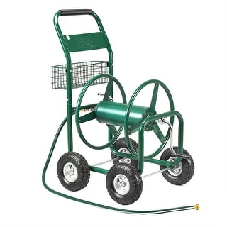 Garden Rolling Cart Heavy Duty With Steel Water Hose Holder With Basket Green