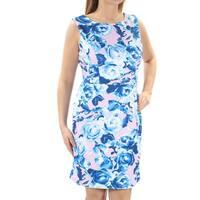 Womens Blue Pink Floral Sleeveless Knee Length Dress  Size:  12