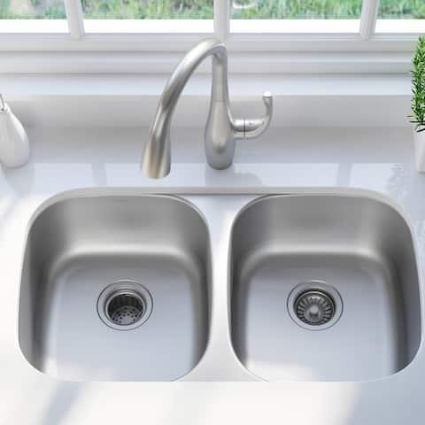 KRAUS Premier Stainless Steel 32 inch 2-Bowl Undermount Kitchen Sink