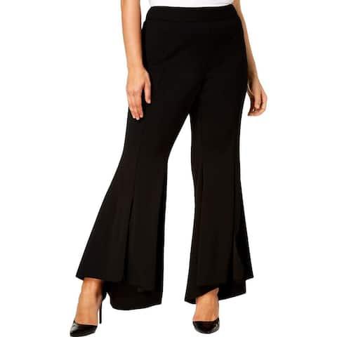 Alfani Women's Dress Pants Black Size 20W Plus Tulip Flare Hem Stretch