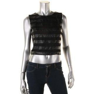 Lucy Paris Womens Faux Leather Mesh Inset Pullover Top - M