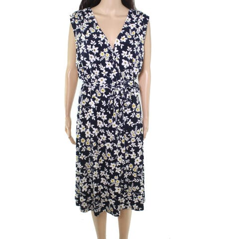 Jessica Howard Womens Dress Blue Size 20W Plus A-Line Floral Surplice