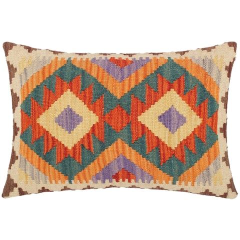 Bohemian Sandi Hand Woven Kilim Throw Pillow 20 in x 15 in