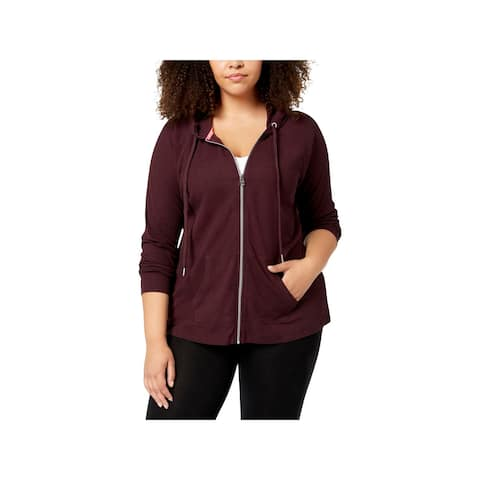 Calvin Klein Performance Womens Plus Hoodie Zip-Up Ruched