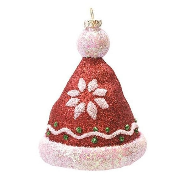 "4.25"" Merry & Bright Red, White and Green Glitter Shatterproof Christmas Hat Ornament"
