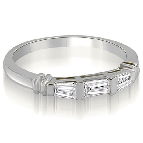 0.25 cttw. 14K White Gold 3-Stone Bar Set Baguette Diamond Wedding Ring