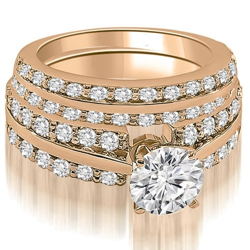 2.85 cttw. 14K Rose Gold Two Row Round Cut Diamond Bridal Set
