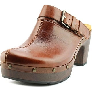 Clarks Artisan Ledella York Women Round Toe Leather Tan Clogs