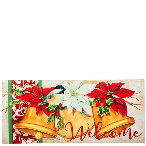 Evergreen Christmas Bells Decorative Mat Insert, 10 x 22 inches