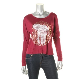 Belle du Jour Womens Juniors Metallic Boatneck Graphic Tee - M