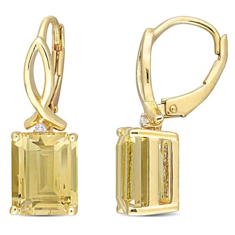 Miadora Sterling Silver Octagon-cut Citrine and White Topaz Drop Leverback Earrings - 25.2 mm x 8.4 mm x 10.1 mm