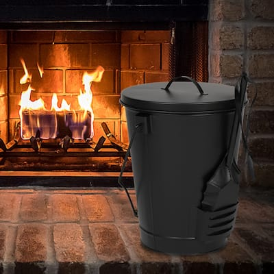 Artisasset Black 19.5L Iron Ash Bucket With Lid And Shovel Indoor Fireplace Tool