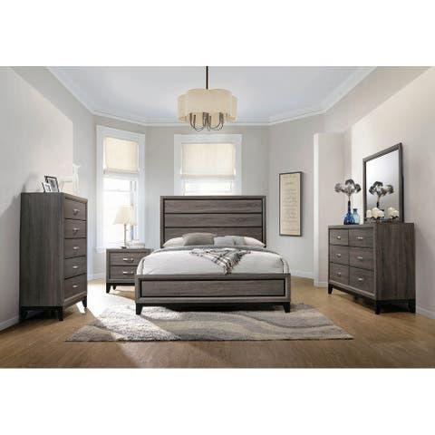 Carina Grey Oak and Black 4-piece Panel Bedroom Set
