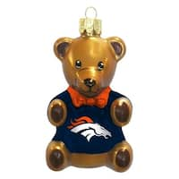 Denver Broncos 3.5 Blown Glass Teddy Bear Ornament""