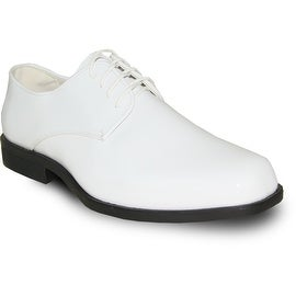 VANGELO Men Dress Shoe TUX-1 Oxford Formal Tuxedo for Prom & Wedding Shoe White Patent -Wide Width Available