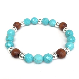 Turquoise Magnesite Stone 'Loyal' stretch bracelet Sterling Silver