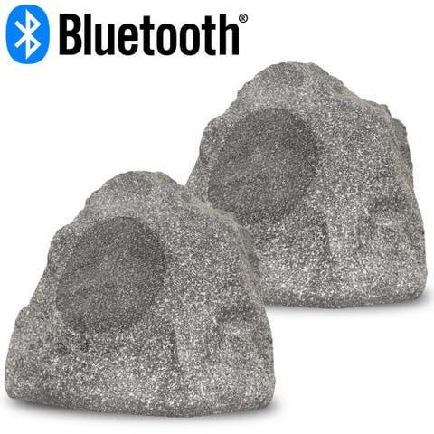 "Acoustic Audio Outdoor Powered Bluetooth Granite Rock Speakers with 8"" Woofers"