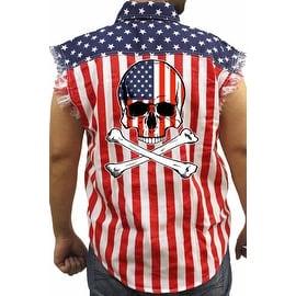 Men's Biker USA Flag Sleeveless Denim Shirt Skull W/ Crossed Bones Stars/Stripes