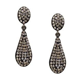 Crystaluxe Teardrop Earrings with Slate Swarovski Crystals in Sterling Silver - grey