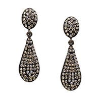 Crystaluxe Teardrop Earrings with Slate Swarovski elements Crystals in Sterling Silver