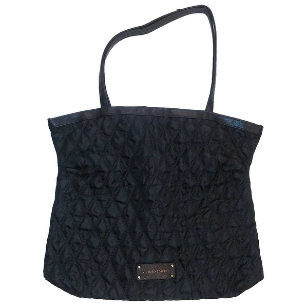Victoria's Secret Handle Tote Quilted Bag Black