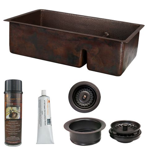 Premier Copper Products KSP3_K70DB33199-SD5 Kitchen Sink and Drain Package