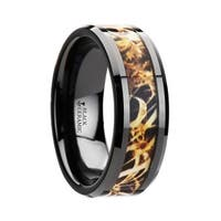 TUNDRA Black Ceramic Wedding Band with Leaves Grassland Camo Inlay Ring 8mm