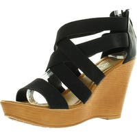 Refresh Jucy-01 Womens Fabric Criss Cross Ankle Strap Platform Wedge Sandal