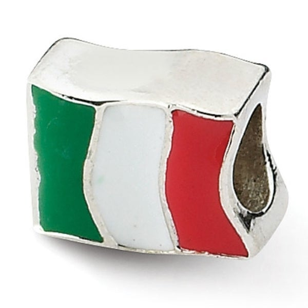 Sterling Silver Reflections Italy Flag Bead (4mm Diameter Hole)