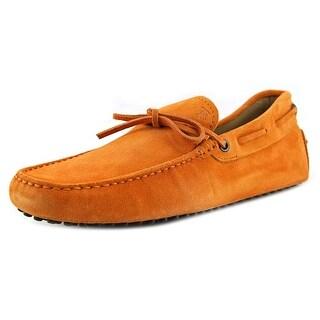 Tod's New Laccetto Occh New Gommini 122 Men Moc Toe Suede Orange Loafer