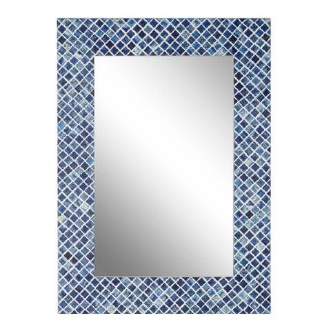 "Rectangular Wood And Bone Wall Mirror With Blue Shell Square Mosaic Patterned Frame 26"" X 36"" - 26 x 3 x 36"