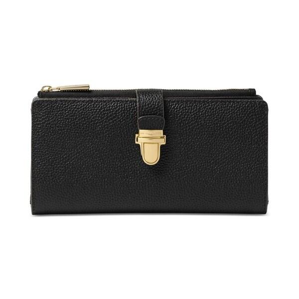 Michael Kors NEW Black Leather Mercer Zip Snap Button Clutch Wallet