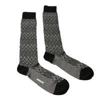 Missoni GM00CMU5242 0004 Grey/Cream Chevron Knee Length Socks - S