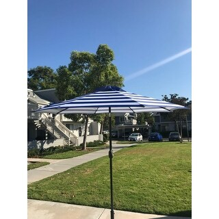 Davee Furniture 9 Feet  Blue/White Strip Patio Umbrella with Tilt and Crank