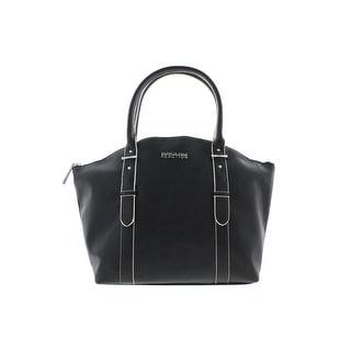 Kenneth Cole Reaction Womens Mac Faux Leather Contrast Trim Satchel Handbag - Large