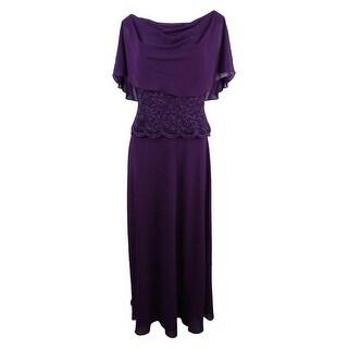 Jessica Howard Women's Cape A-Line Gown - Aubergine