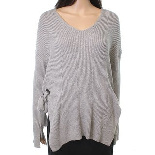 Lush NEW Gray Women's Size Large L V-Neck Cutout Side-Tie Sweater
