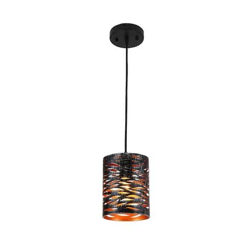 Vintage Mini Pierced Hanging Black Farmhouse Cage Pendant