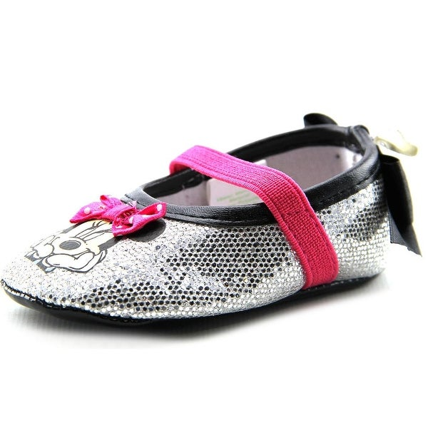 Disney Minnie Crib Shoe Infant Round Toe Synthetic Silver Mary Janes