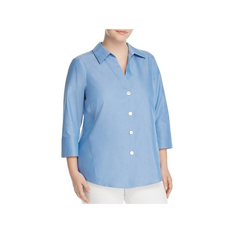 Foxcroft Womens Plus Paige Casual Top Shaped Button Down