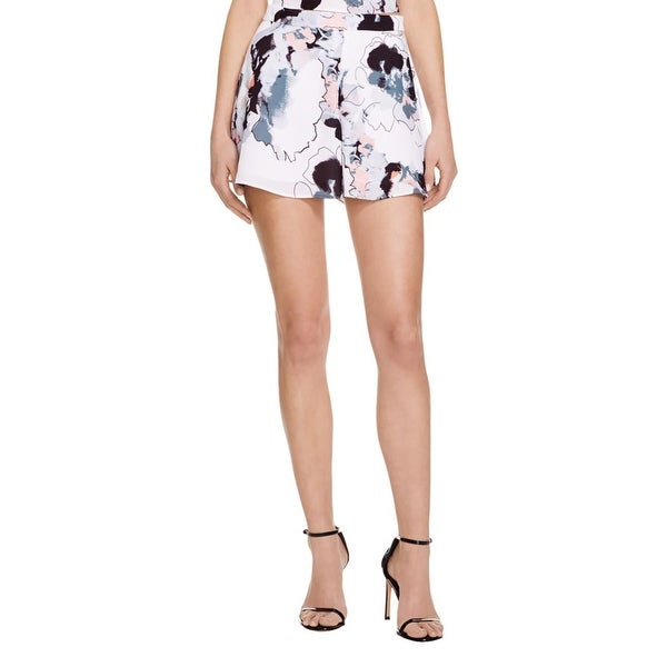 Aqua Womens Casual Shorts Chiffon Floral Print